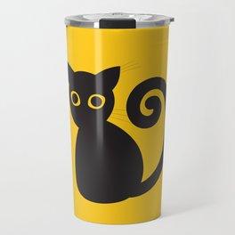 Black vector cat with orange eyes Travel Mug