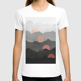 Mountains and the Moon - Black - Silver - Copper - Gold - Rose Gold T-shirt
