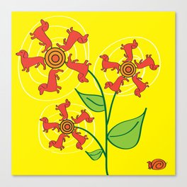 Doxie Flower Canvas Print