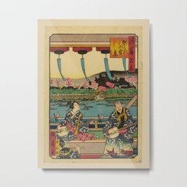 Utagawa Yoshitaki - 100 Views of Naniwa: Cherry blossom view of Sakura (1880s) Metal Print