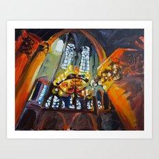 Chandelier in Notre Dame Art Print