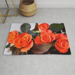 Magnificent Beautiful Bouquet Of Red Roses Close Up Ultra HD Rug