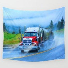 Driving Rain IV - Highway Truck in Rainstorm Artwork Wall Tapestry