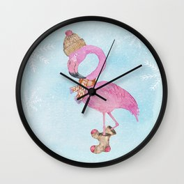 Winter Woodland Stranger- Cute Flamingo Bird Snowy Forest Illustration Wall Clock