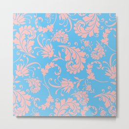 Vintage chic blue coral pink floral damask Metal Print