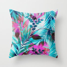 Colorful tropical leaves Throw Pillow