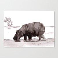 hippo Canvas Prints featuring HIPPO  by Patricia de Cos