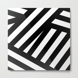 Black white illustration lines modern print Metal Print