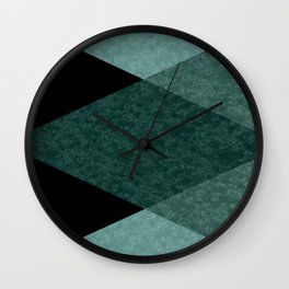 Marble turquoise green triangles Wall Clock