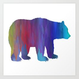Rainbow Watercolor Dripping Bear Art Print