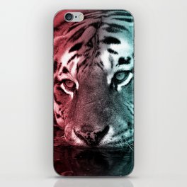 Pink & Teal Tiger in the Water iPhone Skin