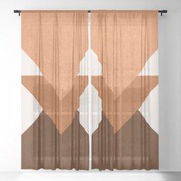 Geometric Blocks in Terracotta Sheer Curtain