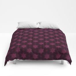 Festive Pink Snowflake Pattern Comforters