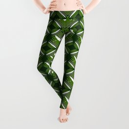 Grassy rhombuses of white stars with hearts in a bright intersection. Leggings