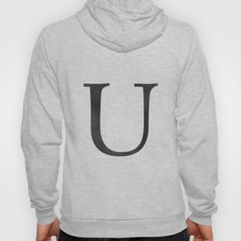 Letter U Initial Monogram Black and White Hoody