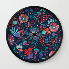 Ripe autumn – cyan and red Wall Clock