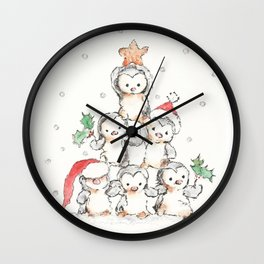 Oh Penguin Tree Wall Clock