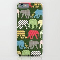 baby elephants and flamingos green Slim Case iPhone 6s