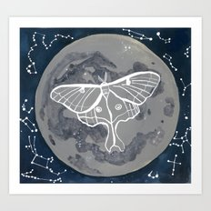 La Luna constellations & moon watercolor Art Print