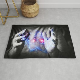 Woman's hands controlling atomic power Rug