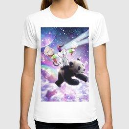 Lazer Rave Space Cat Riding Panda Eating Ice Cream T-shirt