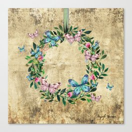 Wreath #Flowers & Butterflies#Royal collection Canvas Print