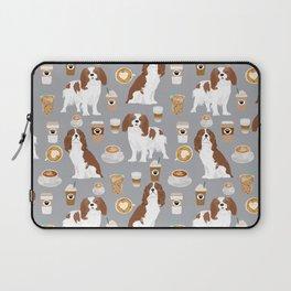 Cavalier King Charles Spaniel coffee lover custom pet portrait by pet friendly dog breeds Laptop Sleeve