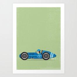 Blue Retro Racing Car Art Print