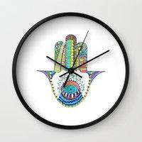 hamsa Wall Clocks featuring HAMSA by Heaven7