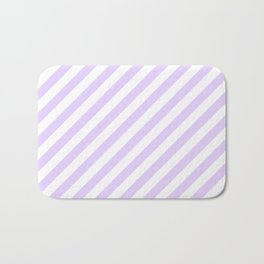 Chalky Pale Lilac Pastel and White Candy Cane Stripes Bath Mat