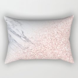 She Sparkles Rose Gold Pink Marble Luxe Geometric Rectangular Pillow