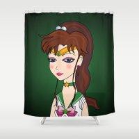 sailor jupiter Shower Curtains featuring Lady Sailor Jupiter by Pendientera
