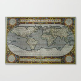Vintage Map of The World (1595) 2 Canvas Print
