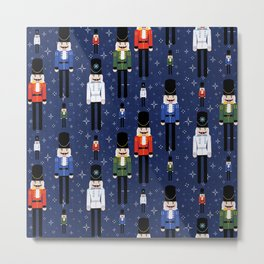 Christmas Nutcracker Soldiers Winter Pattern in Navy Metal Print