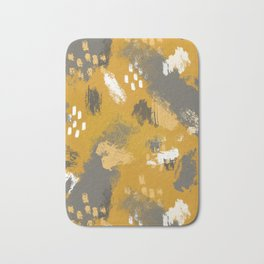 Painterly Brush Strokes in Mustard + Grey Bath Mat