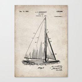 Sailboat Patent - Yacht Art - Antique Canvas Print