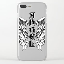 Black Gothic Angel Wings Clear iPhone Case