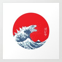 hokusai Art Prints featuring Hokusai kaiju by Marco Mottura - Mdk7