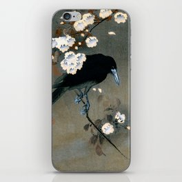 Vintage Japanese Crow and Blossom Woodblock Print iPhone Skin