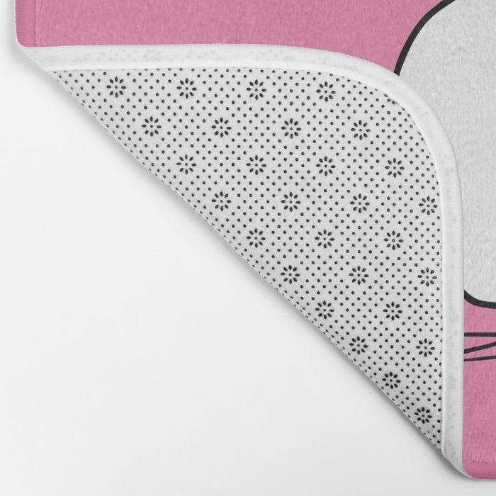 white cat on pink Bath Mat