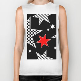 Black and White Stars andTouch of Red Biker Tank