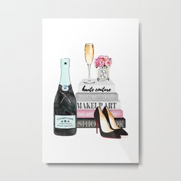 Champagne, pink ,Teal, books ,shoes, peonies ,Peony, Fashion illustration, Fashion ,Aman Metal Print