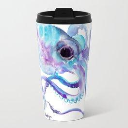 Octopus, Turquoise Blue purple art Travel Mug