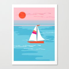 Mellow Out - memphis throwback retro classic neon yacht boating sailboat ocean sea 1980s 80s pop art Canvas Print