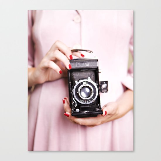 Vintage camera love Canvas Print