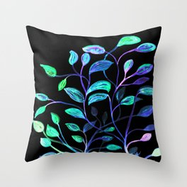 Do Not Go Into The Night, Red and Green Leaves Throw Pillow