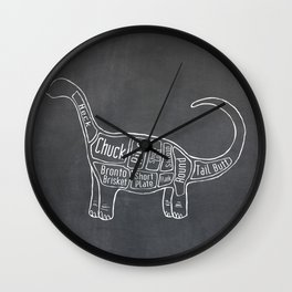 "Brontosaurus Dinosaurus (A.K.A Apatosaurus ""Big Cow"") Butcher Meat Diagram Wall Clock"
