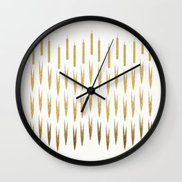 Gold Cattails Wall Clock