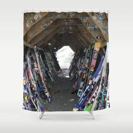 Hideout gathering of skis Shower Curtain