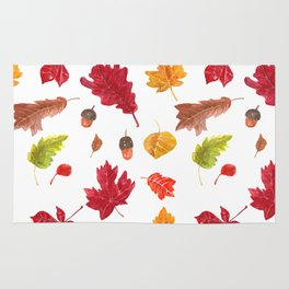 Autumn leaves pattern. Seamless pattern with various hand drawn autumn leaves.  Rug